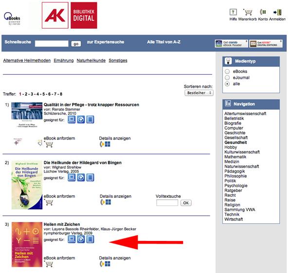 Bildzitat: Die Webseite der Arbeiterkammer Niederösterreich bietet medizinisch fragwürdige  Bücher gratis zum Ausborgen an. © Christian M. Kreuziger
